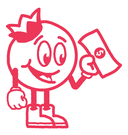 Bluberi Animated Character Holding Money In Red